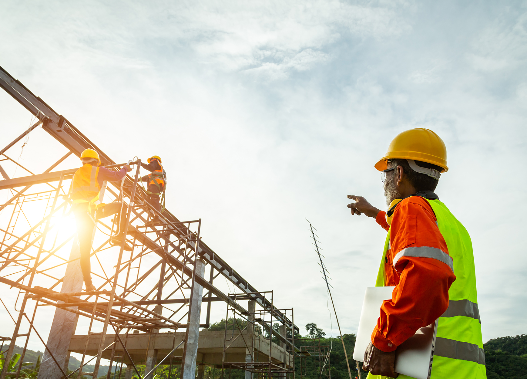 A construction worker control in Engineer technician watching   Steel Structures America