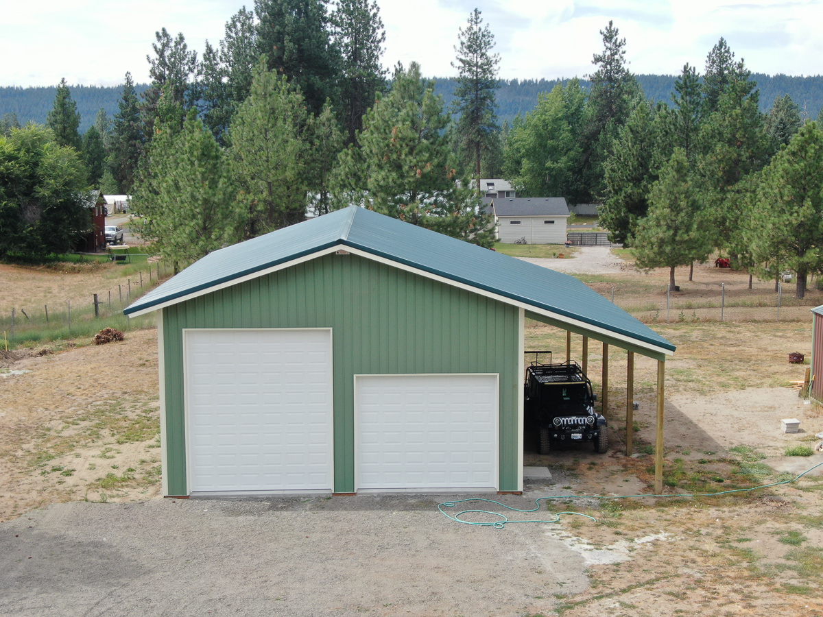 #10930 30x48x16 w/ 12×48 Lean-to – Nine Mile Falls| Steel Structures America