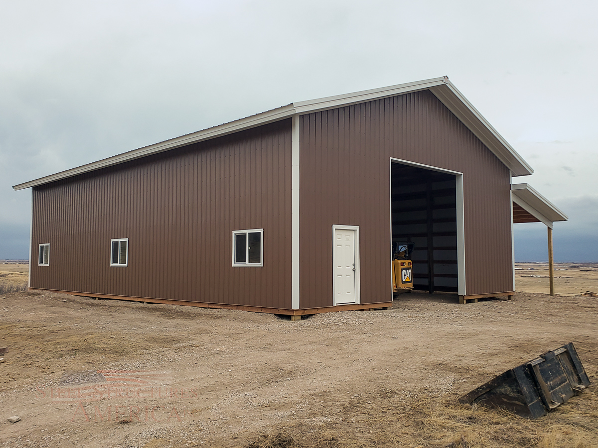 #11313 Parks – 40x60x16 with 12×60 Lean-to – Fort Collins, Colorado| Steel Structures America