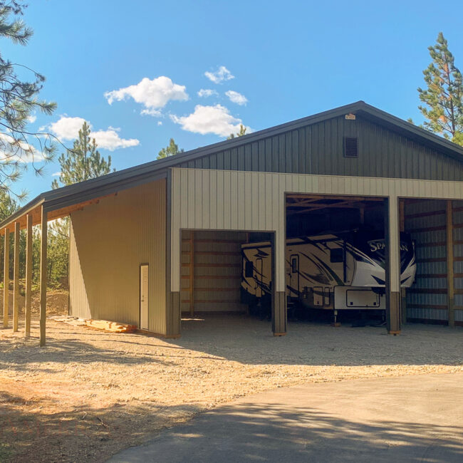 11760 double RV garage post frame-1 | Steel Structures America